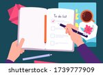 person fill notebook. to do... | Shutterstock .eps vector #1739777909