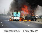Small photo of small truck with Truck caps car explosive car crash and catch fire on motorway