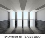 a large hall with windows | Shutterstock . vector #173981000