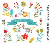 beautiful collection of floral... | Shutterstock .eps vector #173981459