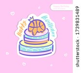 vector bright sticker with cake ... | Shutterstock .eps vector #1739831489