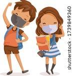 boys and girls face maskfull... | Shutterstock .eps vector #1739849360