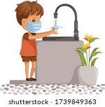 children wearing protective... | Shutterstock .eps vector #1739849363