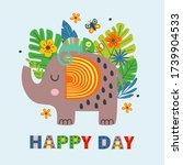 poster with  happy elephant and ... | Shutterstock .eps vector #1739904533