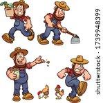 cartoon male farmer performing... | Shutterstock .eps vector #1739948399