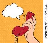hand holding a phone  pop art... | Shutterstock .eps vector #173998466