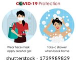 infographic of covid 19... | Shutterstock .eps vector #1739989829