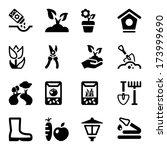 black icons set for gardening   ...   Shutterstock .eps vector #173999690