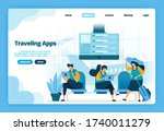 landing page of traveling apps. ... | Shutterstock .eps vector #1740011279