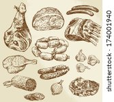 meat   hand drawn collection | Shutterstock .eps vector #174001940