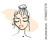 girl's face  drawn in one line  ... | Shutterstock .eps vector #1740027170