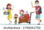 family mask traval at the... | Shutterstock .eps vector #1740041750
