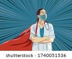super doctor and nurse wearing... | Shutterstock .eps vector #1740051536