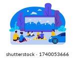outdoor cinema theater big... | Shutterstock .eps vector #1740053666