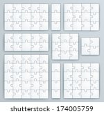 jigsaw puzzle templates. set of ... | Shutterstock .eps vector #174005759