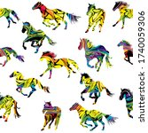 Colorful Silhouettes Of Horses...