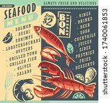 seafood menu template with... | Shutterstock .eps vector #1740061853
