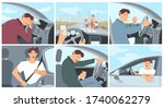 young driver character in car... | Shutterstock .eps vector #1740062279