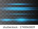 blue horizontal lens flares... | Shutterstock .eps vector #1740063839