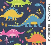 dinosaurs seamless pattern with ... | Shutterstock .eps vector #1740064913