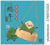 vintage chinese rice dumplings...   Shutterstock .eps vector #1740072323