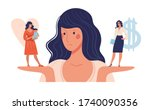 a woman chooses between family... | Shutterstock .eps vector #1740090356