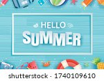hello summer with decoration...   Shutterstock .eps vector #1740109610