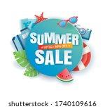 summer sale banner paper cut... | Shutterstock .eps vector #1740109616