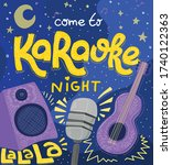 karaoke night poster. vector...   Shutterstock .eps vector #1740122363