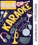 karaoke night poster. vector...   Shutterstock .eps vector #1740122366