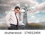 thinking businessman touching... | Shutterstock . vector #174012404
