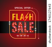 flash sale banner on red... | Shutterstock .eps vector #1740127643