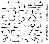 black set of arrows. hand drawn ... | Shutterstock . vector #1740135623