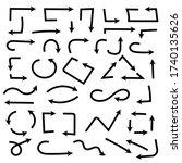 black arrows. hand drawn doodle.... | Shutterstock . vector #1740135626