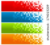 set of colorful pixel banners | Shutterstock .eps vector #174015209