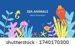 Cute Sea Animals Vector...