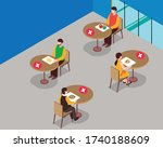 social distance at cafeteria... | Shutterstock .eps vector #1740188609
