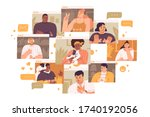 concept of videoconference and... | Shutterstock .eps vector #1740192056