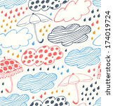 bright rainy seamless... | Shutterstock .eps vector #174019724