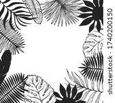 tropical plant leaf frame... | Shutterstock .eps vector #1740200150
