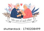 caring couple of grandparents.... | Shutterstock .eps vector #1740208499