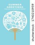 summer greeting card of... | Shutterstock .eps vector #1740210959