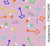 seamless composition of keys... | Shutterstock . vector #1740215690
