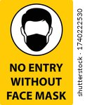 no entry without face mask sign.... | Shutterstock .eps vector #1740222530