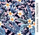 plumeria flowers and trendy... | Shutterstock .eps vector #1740225479