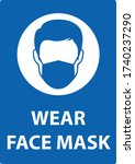 no entry without face mask sign....   Shutterstock .eps vector #1740237290