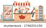 sausages store flat composition ...   Shutterstock .eps vector #1740251150