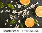 Juicy Oranges Cut In Slices On...