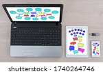 social media concept shown on... | Shutterstock . vector #1740264746