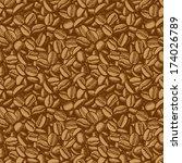 coffee beans vector seamless.... | Shutterstock .eps vector #174026789